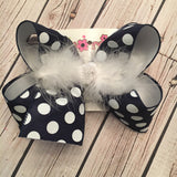 Navy w/White Polka Dots Jumbo or Large Layered Hair Bow