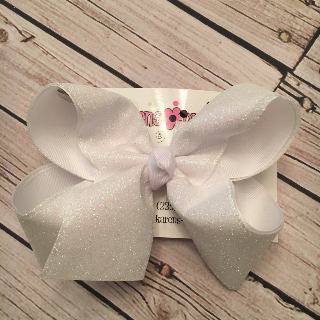 White Flat Glitter Ribbon Jumbo or Large Layered Hair Bow