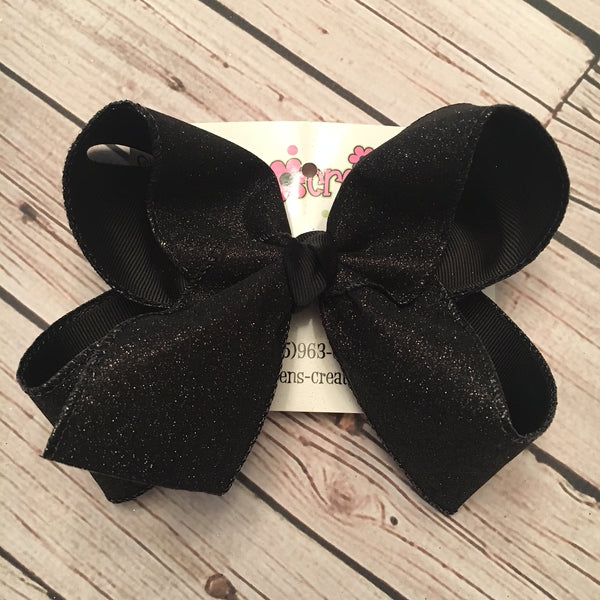 Black Flat Glitter Ribbon Jumbo or Large Layered Hair Bow