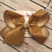 Gold Flat Glitter Ribbon Jumbo or Large Layered Hair Bow