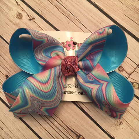Aurora Ombre Print Jumbo Large or Medium Layered Hair Bow