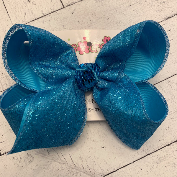 Turquoise Sheer Glitter Jumbo or Large Layered Hair Bow