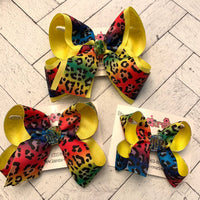 Neon Rainbow Leopard Print Jumbo Large or Medium Layered Hair Bow