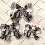Black Snakeskin Print Jumbo Large or Medium Layered Hair Bow