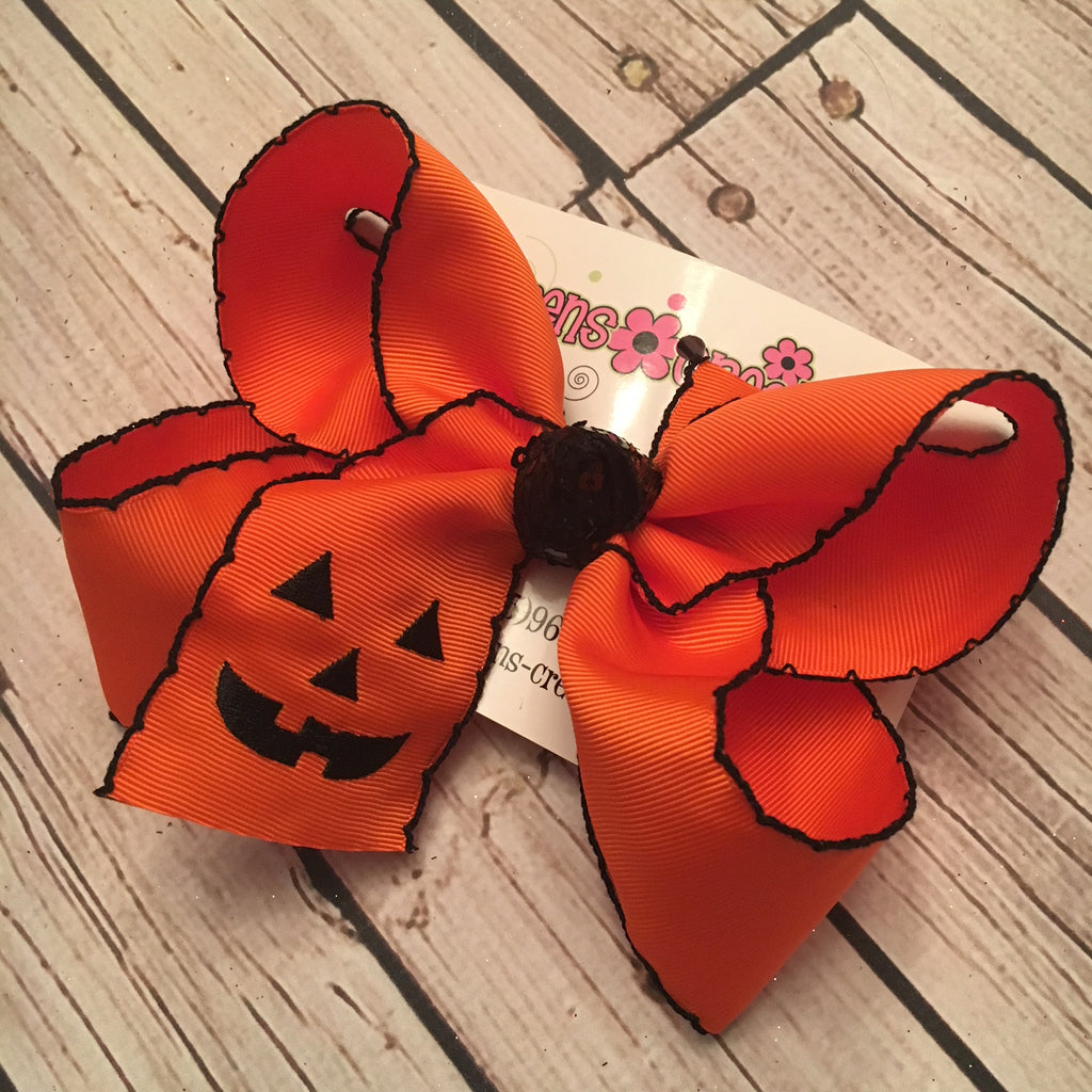 Monogrammed Jack-O-Lantern Large Moonstitch Single Layer Bow