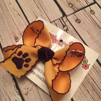 Monogrammed Paw Print Large or Medium Moonstitch Bow
