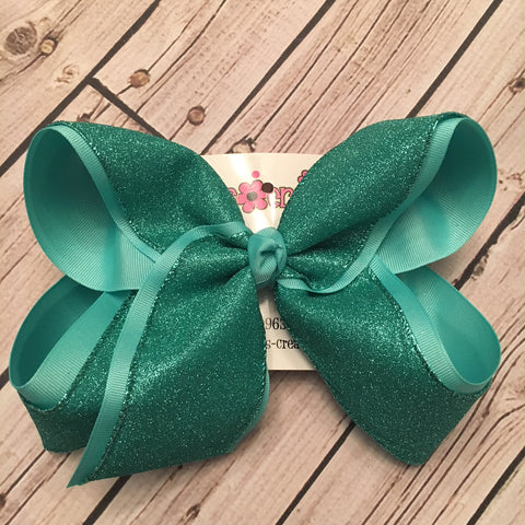 Aqua Flat Glitter Ribbon Jumbo or Large Layered Hair Bow