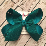 Dark Turquoise Flat Glitter Ribbon Jumbo or Large Layered Hair Bow