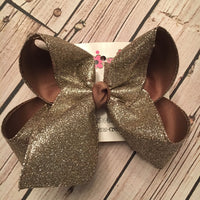 Taupe Glitter Ribbon Jumbo or Large Layered Hair Bow