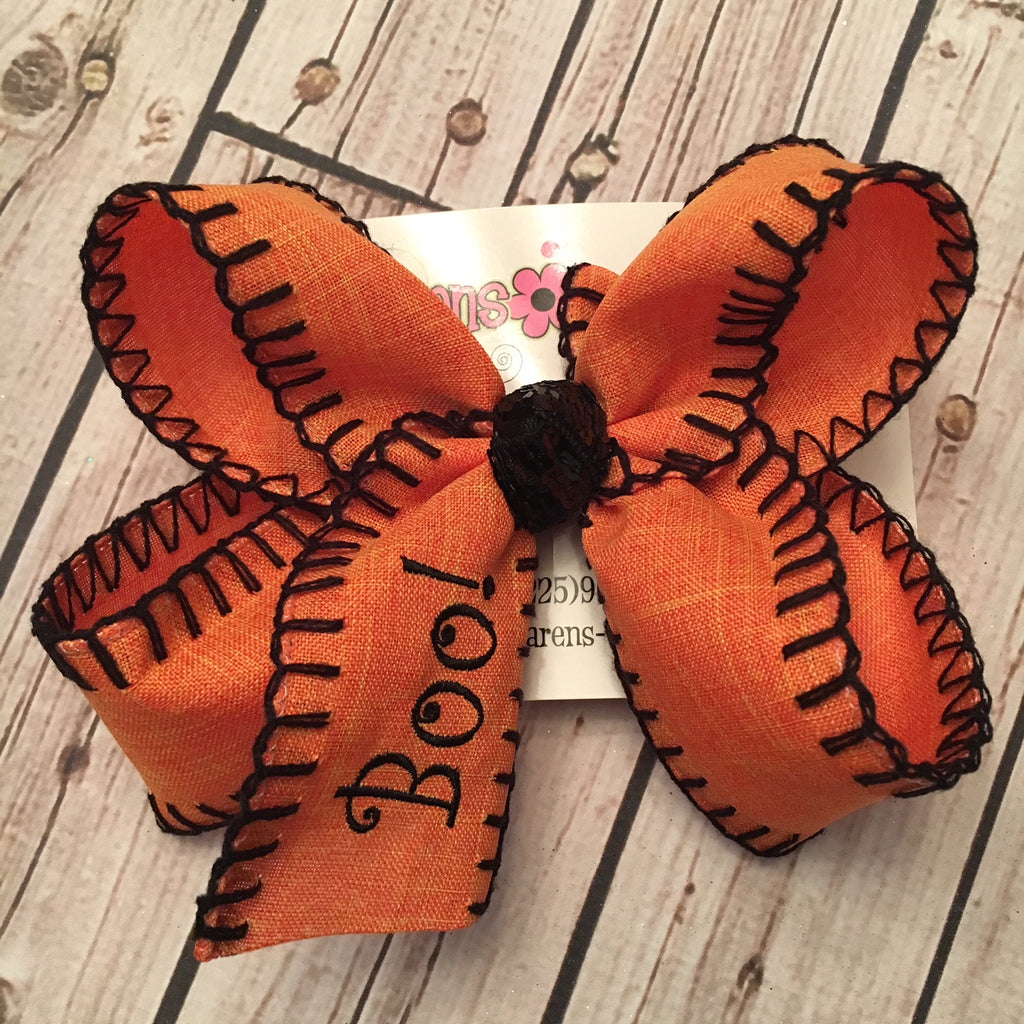 Monogrammed Boo! Halloween Jumbo or Large Blanket Stitch Bow