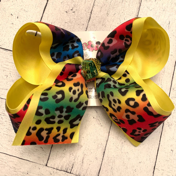 Neon Rainbow Leopard Print Jumbo Large Medium or Small Layered Hair Bow