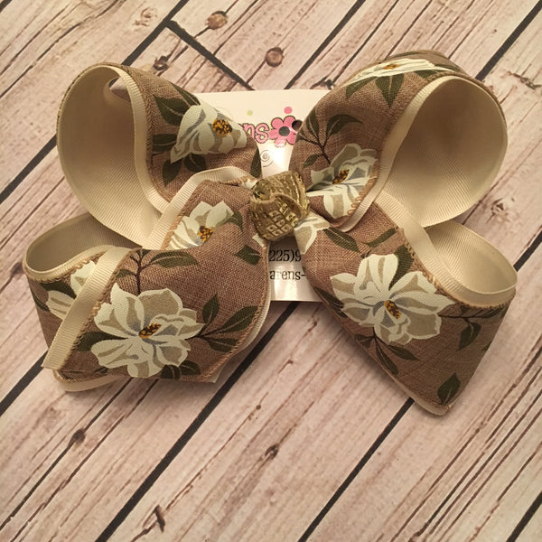 Canvas Magnolia Print Jumbo or Large Layered Hair Bow