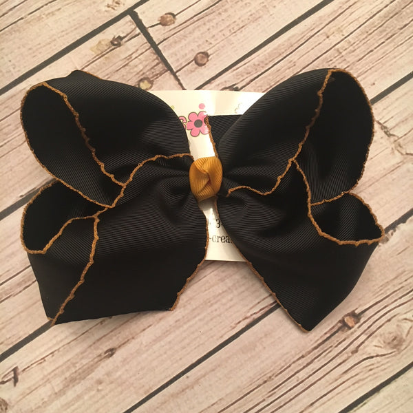 Jumbo Black w/Gold Moonstitch Ribbon Single Layer Bow