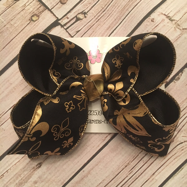 Black w/Gold Foil Fleur De Lis Print Jumbo or Large Layered Hair Bow