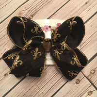 Sheer Black w/Gold Glitter Fleur De Lis Print Jumbo or Large Layered Hair Bow