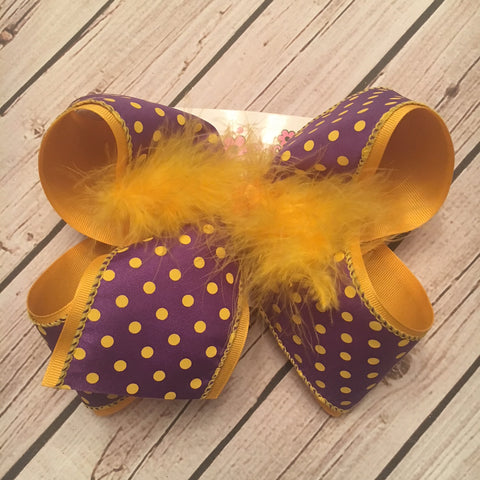 Purple w/Yellow Gold Dots LSU Themed Jumbo or Large Layered Hair Bow