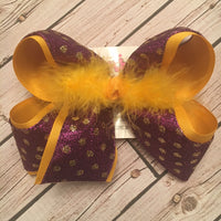 Purple w/Gold Glitter Dots LSU Themed Jumbo or Large Layered Hair Bow