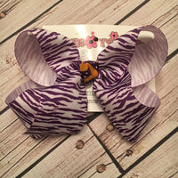 Purple Tiger Zebra Print LSU Themed Large Medium Toddler Single Layer Hair Bow