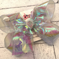 Large Clear Iridescent Cellophane Ribbon Single Layer Hair Bow