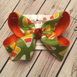 Lime Halloween Candy Corn Print Jumbo or Large Layered Hair Bow
