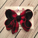 Red and Black Buffalo Plaid Jumbo Large or Medium Layered Hair Bow