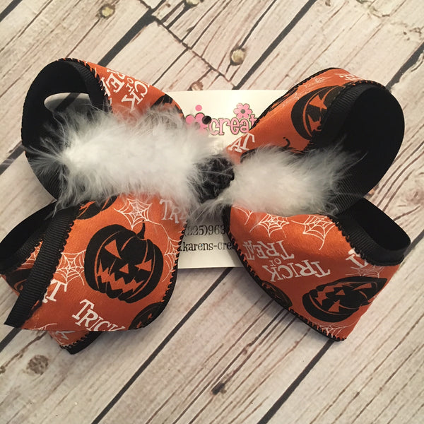 Trick or Treat Jack o Lantern Halloween Print Jumbo or Large Layered Hair Bow