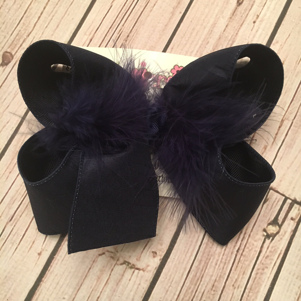 Navy Blue Dupioni Silk Jumbo or Large Layered Hair Bow