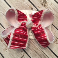 Red/White Glitter Stripes w/Snowdrift Edge Jumbo or Large Christmas/Holiday Layered Hair Bow