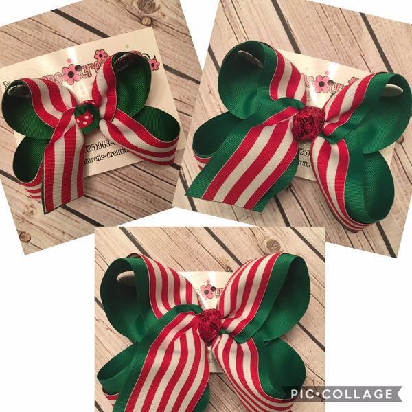 Red/White Stripes Christmas Themed Jumbo Large or Medium Layered Hair Bow