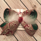 Canvas w/Red Glitter Scroll Jumbo or Large Christmas/Holiday Layered Hair Bow