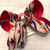 Patriotic Canvas RWB w/Waves Glitter Stars Jumbo or Large Layered Hair Bow