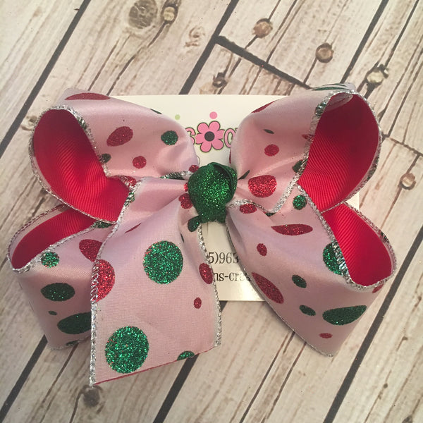 White w/Glitter Dots Jumbo or Large Christmas/Holiday Layered Hair Bow