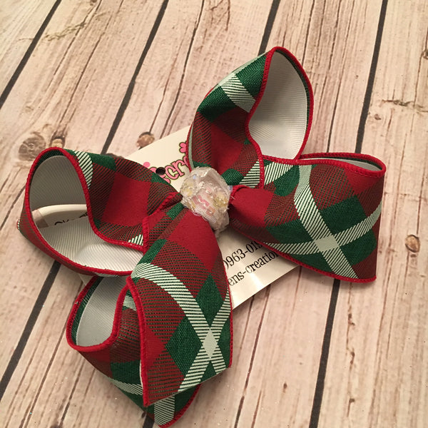 Red/Green Christmas Plaid Jumbo or Large Layered Hair Bow