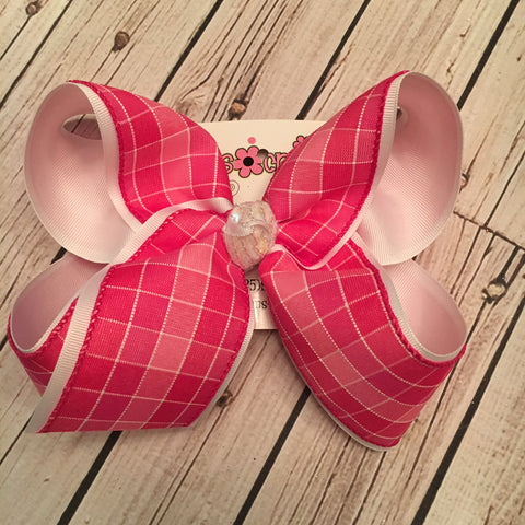 Valentine's Day Pink Squares Jumbo or Large Layered Hair Bow