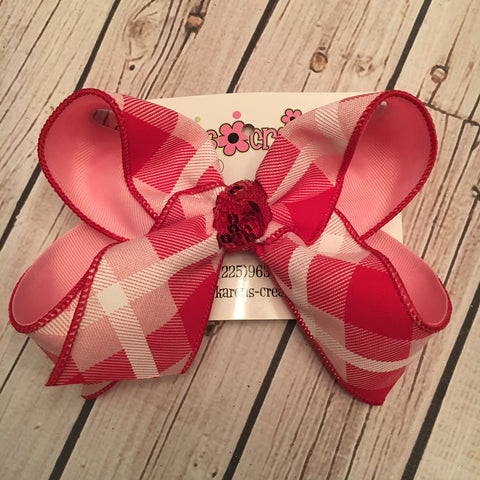 Valentine's Day Pink/Red Plaid Jumbo or Large Layered Hair Bow