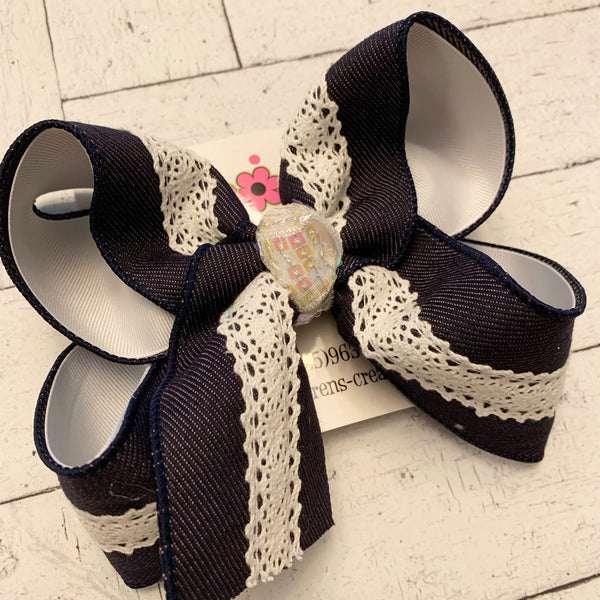 Denim and White Lace Center Jumbo or Large Layered Hair Bow