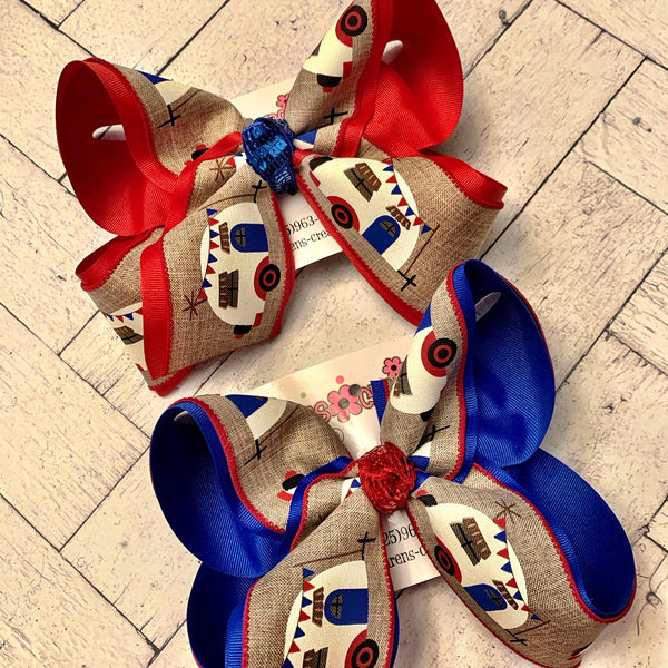 Patriotic Camper Jumbo or Large Layered Hair Bow