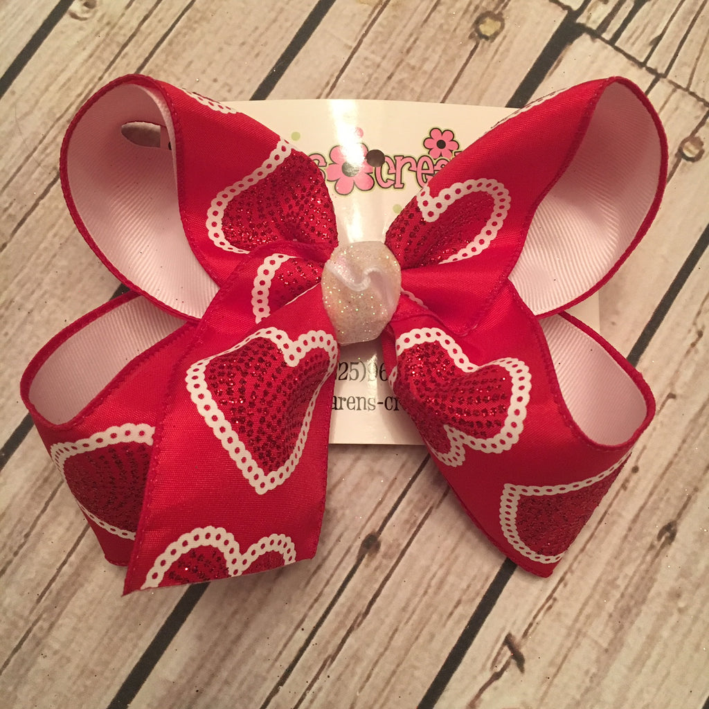 Valentine's Day Glitter Dot Hearts Jumbo or Large Layered Hair Bow