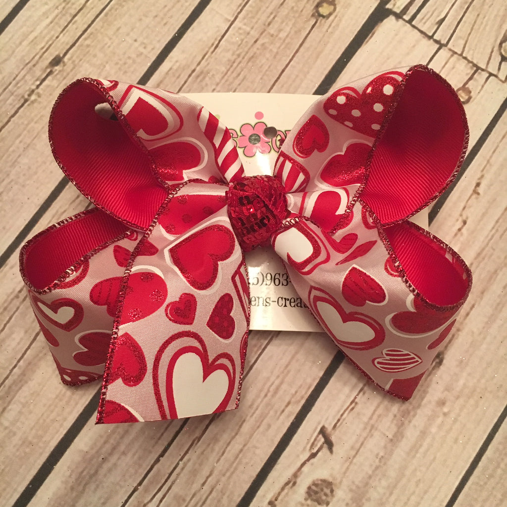 Valentine's Day Pink Glitter Patterned Hearts Jumbo or Large Layered Hair Bow