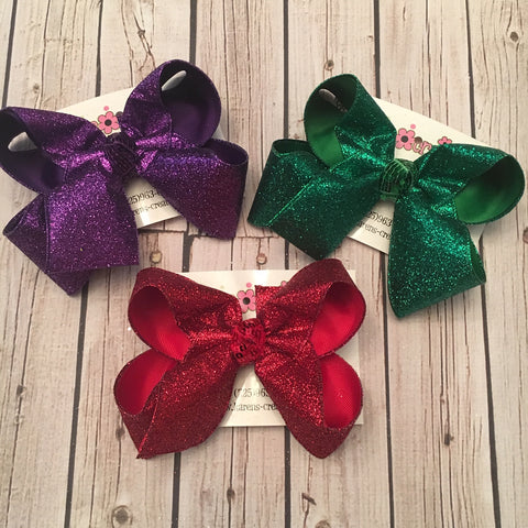 Mardi Gras/Valentines Glitter Ribbon Jumbo or Large Layered Hair Bow Bundle
