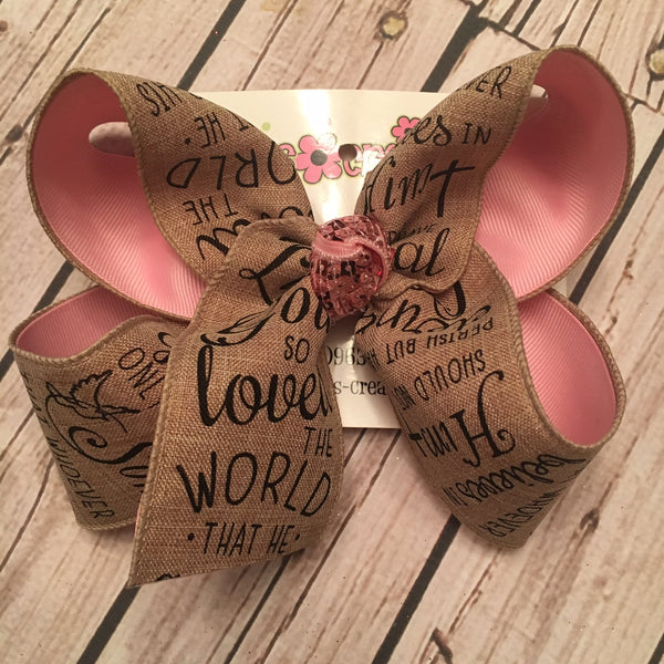 John 3:16 Easter Religious Jumbo or Large Layered Hair Bow