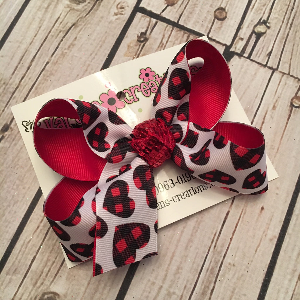 Valentine Buffalo Plaid Print Jumbo Large or Medium Layered Hair Bow