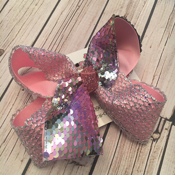 Pastel/Silver Flip Reversible Sequin Tail Large Layered Hair Bow