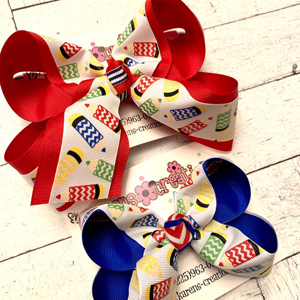 White Glitter Crayons Back to School Large Medium or Small Layered Hair Bow