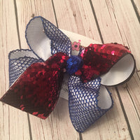 Patriotic Red White Blue Flip Reversible Sequin Tail Jumbo or Large Layered Hair Bow