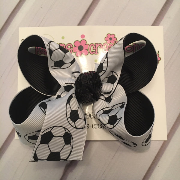 Soccer Print Medium Layered Hair Bow