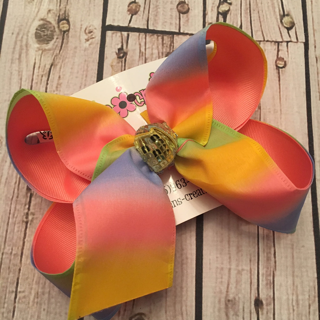 Pastel Ombre Rainbow Jumbo Large or Medium Layered Hair Bow