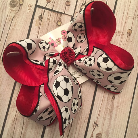 Soccer Print Jumbo or Large Layered Hair Bow