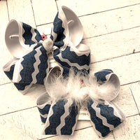 Denim Chambray White Ric Rac Jumbo or Large Layered Hair Bow
