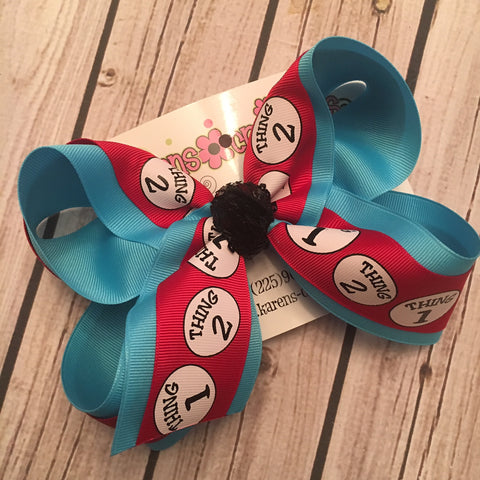 Dr. Seuss Thing 1 Thing 2 Large or Medium Layered Hair Bow